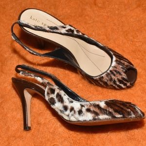 Kate Spade New York Leopard Fur Heels Size 6.5